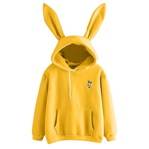 INLLADDY Kapuzenpullover Damen Mädchen Langarm Rundhals Süß Hasenohren Hoodie Einfarbig Kaninchen Druck Hoodie Tasche Sweatshirt Pullover mit Kapuzen M Gelb
