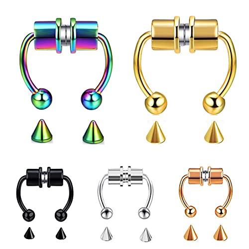 Luoyu Anillo de nariz falso unisex, anillo magnético para septum, anillo de nariz de acero inoxidable de imitación de herradura, anillos de tabique de nariz sin perforar