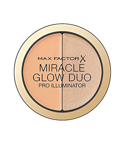 Max Factor Miracle Glow Duo Highlighter Medium 20 – Highlighter Puder mit Gold Schimmer – Für den perfekten Teint – Farbe Rose und Apricot – 1 x 8 g