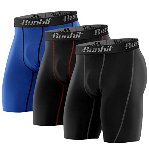 Runhit Men's Compression Shorts(3 Pack), Compression Spandex Yoga Shorts Underwear