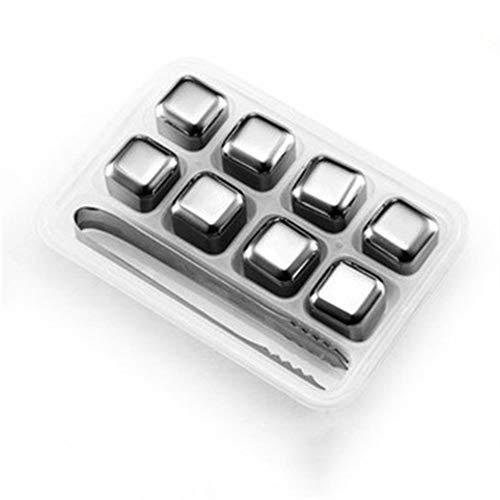 Conectores de terminales reutilizables para whisky con caja de almacenamiento, cubos de enfriador de vino de grado alimenticio, cubos de hielo de acero inoxidable (color: 8 piezas)