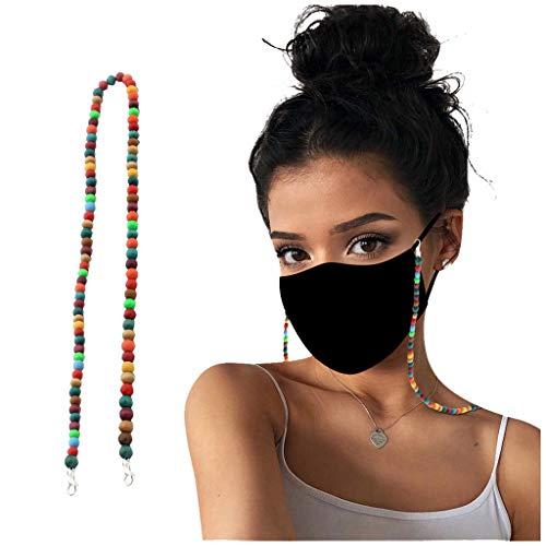 N / A Máscara Cordón Cuentas de Vidrio con Cuentas Cadenas para Gafas Colgador de Soporte de mascarilla Cómodo Alrededor...