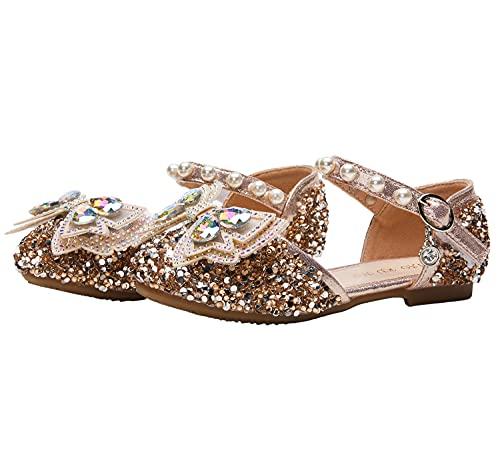 KANDEMY Mädchen Prinzessin Schuhe Kristalle Festliche Schuhe Bowknot Mädelsabend Schuhe für Alltag Halloween Fasching Karneval Cosplay Verkleidung Cinderella Elsa Kleid Accessoires