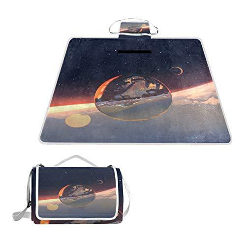 LZXO Jumbo-Picknickdecke, faltbar, abstrakt, Retro-Gitarre, Musik, groß, 145 x 150 cm, wasserdicht, handliche Matte, kompakt, Outdoor-Matte mit Griff für Outdoor-Reisen, Camping, Wandern.