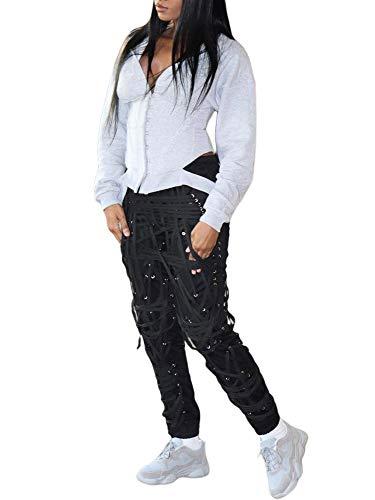 HaSaiki, pantaloni da jogging da donna, stile Streetwear, con coulisse e lacci Nero XXXL