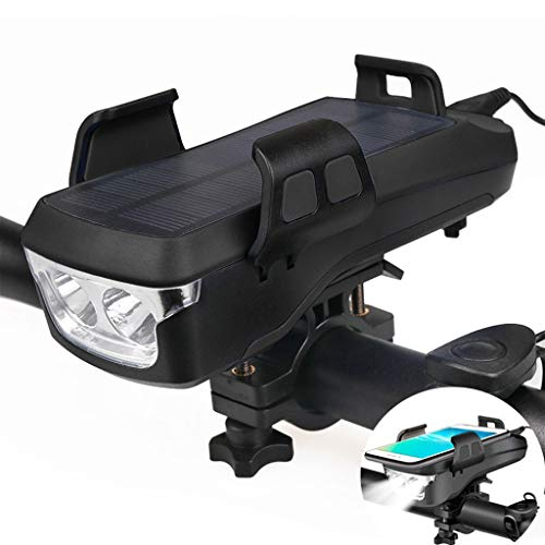 Luz 4 en 1 para bicicleta con bocina de bicicleta y soporte para teléfono, resistente al agua 4000 mAh, batería recargable por USB, 2 unidades