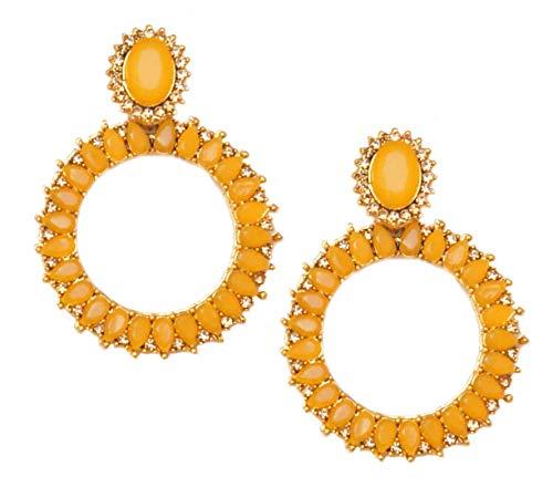 Pahal - Pendientes de oro Jhumka redondos de estilo indio de Bollywood para mujer
