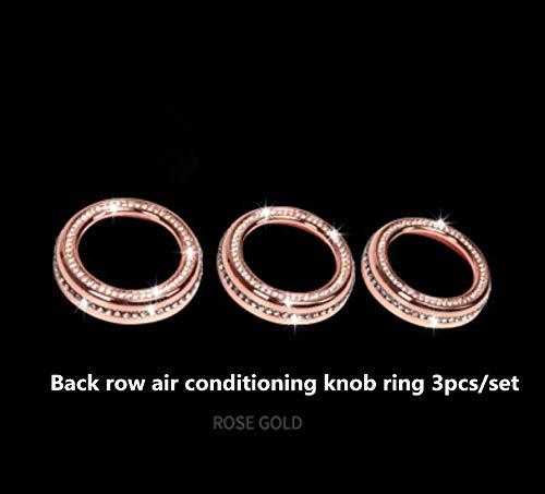 NIUHURU Auto Interieur Trim Bling Accessoires geschikt voor Land Rover Discovery 5 2017 Auto Wijziging Accessoires Vrouwen Strass Crystal Decals Accessoires Back row air conditioning knob ring 3pcs/set Rosegoud