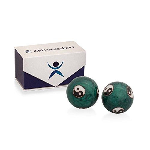 Meditation Qi-Gong-Kugeln mit Klangwerk | Klangkugeln | Yin Yang | Design Yin Yang grün | verschiedene Durchmesser … (Ø 30 mm)