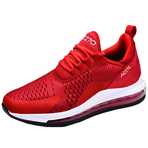 Zapatillas de deporte al aire libre para hombre Air Cushion Athletic Walking Running Trainers Zapatos casuales nbe0034, color Rojo, talla 47 EU