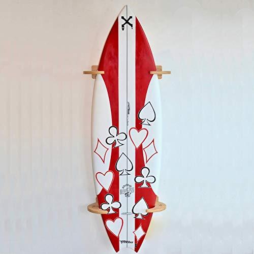Premium Rack für vertikale Aufhängung aus Massivholz - Perfekt für Surfboards, Shortboards und Longboards