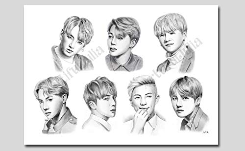 BTS poster, pencil drawing art print of watercolor painting, (NO FRAME, NO CANVAS) 5'x 7', 8'x 10', 9'x 12', 11'x 14' and 12'x 16'