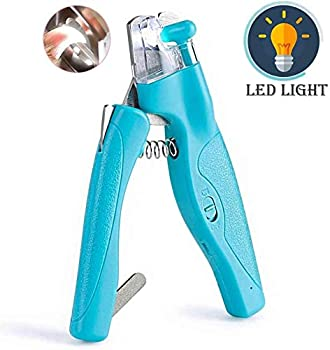 Nxvo Pet Nail Clippers with LED Light with Safety Guard Nail File Claw