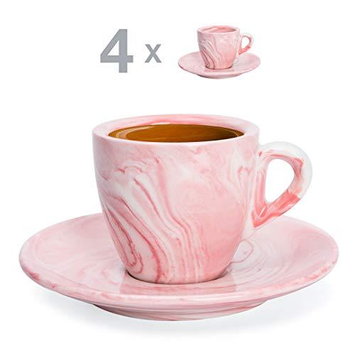 Hausmann & Söhne Espresso Tassen dickwandig   Set 8-TLG   4er Set rosa Marmor Tassen mit Untertassen   Porzellan   Tasse 80ml   Espresso Tassen Set mit Untersetzer   Geschenkidee