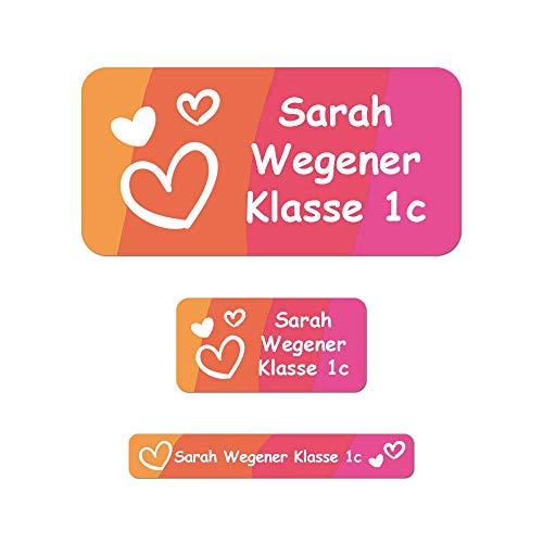 foliado® Namensaufkleber SET Kinder Etiketten 3 Größen Sticker Namensetikett Stifteaufkleber Schule Kita (150 Stück) APD-011