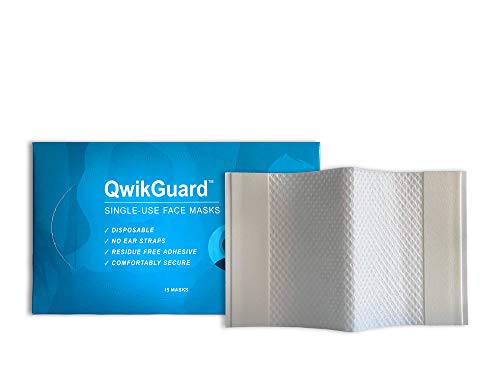 QwikGuard Single-Use Strapless Face Masks - Designed For On-The-Go Comfort And Safety With Up To 5x Better Filtration Than Cloth Masks Or Bandanas - Two-Ply, Latex-Free, Made In The USA (15 Count)