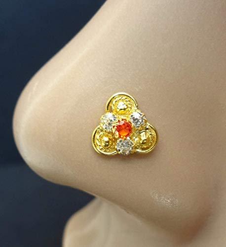 L Shape Gold Nose Stud Indian Nose Stud Flower Nose Stud Tiny Nose Stud 14k Solid Gold Nose Pin