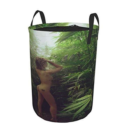 Janrely Large Round Storage Basket with Handles,Charming Weed Pot Leaf Marijuana Smoking HOT Girl Art Photo,Waterproof Coating Organizer Bin Laundry Hamper for Nursery Clothes Toys 21.5'x 16.5'