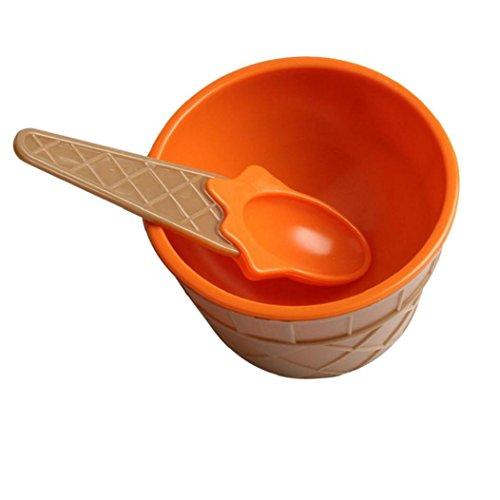 Eisschalen Tasse Kolylong Kinder Kunststoff Eisbecher mit einem Löffel Kinder Sommer Dessert Cup (Orange)
