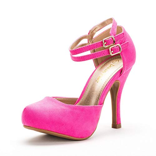 DREAM PAIRS Women's Office-02 Classy Mary Jane Double Ankle Strap Almond Toe High Heel Pumps New Fuchsia Suede Size 9