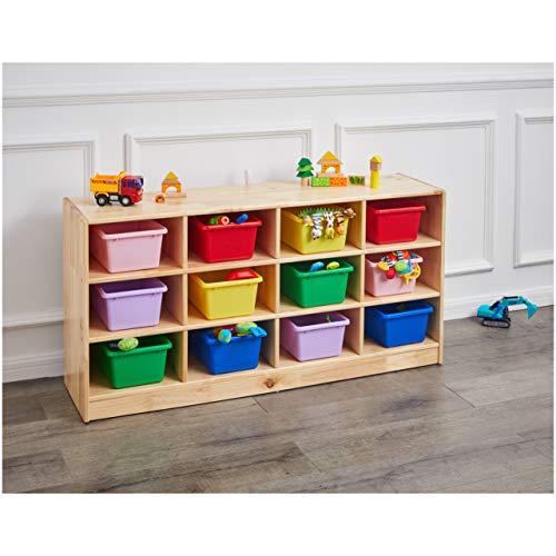 Amazon Basics Kids Vertical Storage Cubby, 12 Section Organizer, Wooden Finish
