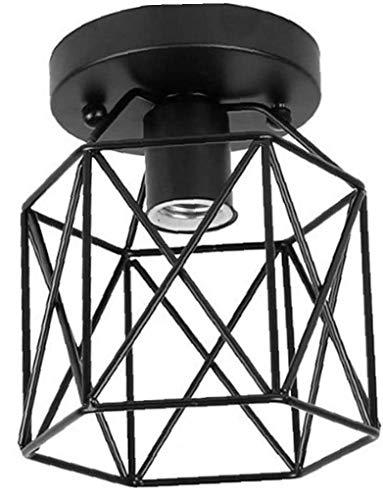 IUwnHceE Luz de Techo geométrica Pantalla 200mm Cubierta al RAS Semi-Montaje al RAS del Techo de la lámpara sin Bombilla Montaje de Hierro Negro Pantalla Pantalla Industrial