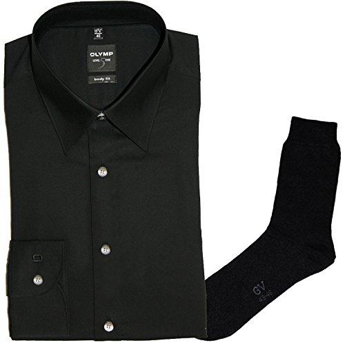 OLYMP Hemd Level Five, Body fit, Langarm, Italien Kent, Teilungsnaht, schwarz + 1 Paar hochwertige Socken, B&le