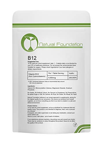 Vitamin B12 Tablets 5,000mcg Supplement Weight Loss, Fatigue & Immune System Health | 240 Tablets 8 Months Supply | Natural Foundation Supplements