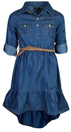 dollhouse Girls' Dress – High-Low Belted Short Sleeve Chambray Denim Dress (Toddler/Little Girl/Big Girl), Dark,...