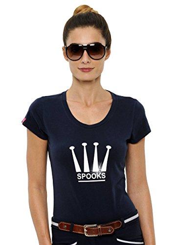 SPOOKS T Shirt für Damen Mädchen Kinder, tailliert Sommer Tshirt mit Aufdruck aus Frotee - bequem & stylisch Crown - Navy S