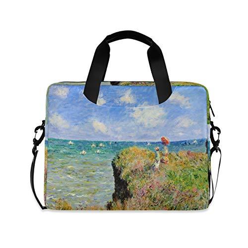 Monet's Clifftop Walk At Pourville Sea - Maletín portátil para portátil de 15.6 y 14 15 pulgadas, correa ajustable y asa