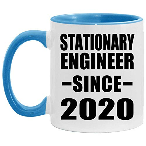 Stationary Engineer Since 2020-11oz Accent Coffee Mug Blue Ceramic Tea-Cup - For Friend Retirement Graduation Boss Birthday Anniversary Mothers Fathers Day 982TJ3