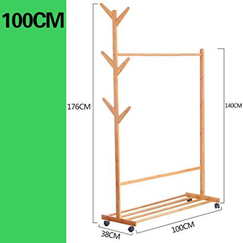 Coat wandgarderobe voor creatieve woonkamer - plank voor kleding van bamboe Nan - mobiele plank in de slaapkamer - houder voor ophangen en ophangen aan de hal paraplu