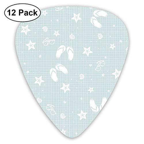 Guitar Picks 12-Pack,Beach Theme Design Shells Starfishes Flip Flops Glasses Summer Holiday Image