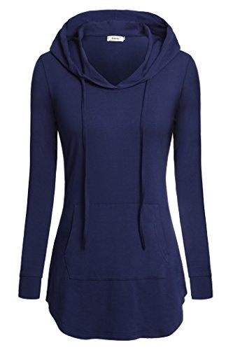 Women Long Sleeve Shirts,Bepei Hoodies For Legging Mini Dress Tunic Top Teen Girls Petite Plain Slimming Fit Hoody Sweatshirts Cute Outfit Blue 2XL