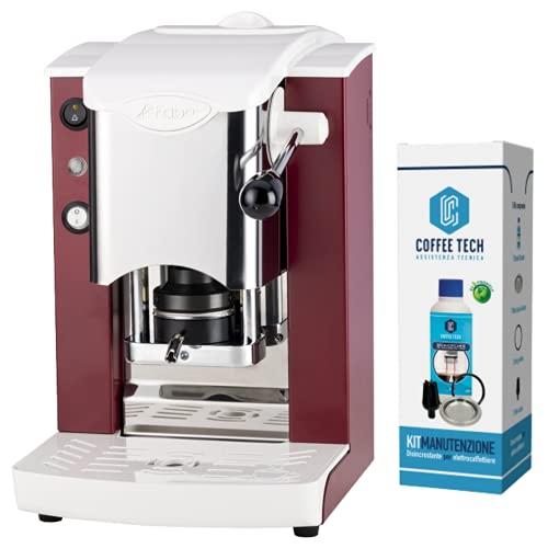 FABER - SLOT - Máquina de café de monodosis de papel ese 44 mm, inoxidable, color rojo