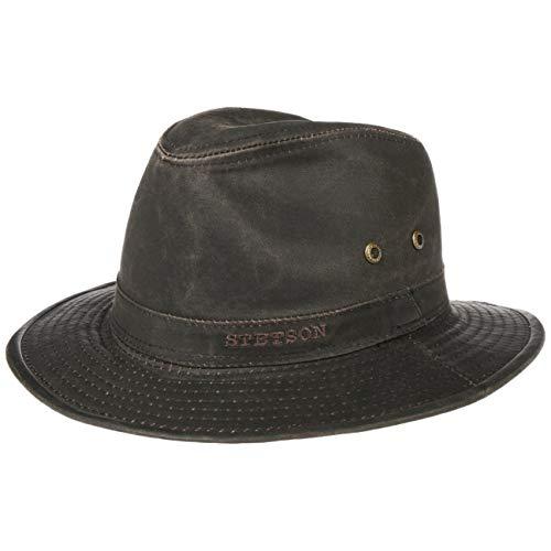 Stetson Sombrero vagabundo Traveller para Hombre - Sombrero Aventurero de algodón con protección UV 40+ - Sombrero de Exteriores Estilo Retro - Verano/Invierno - marrón L (58-59 cm)