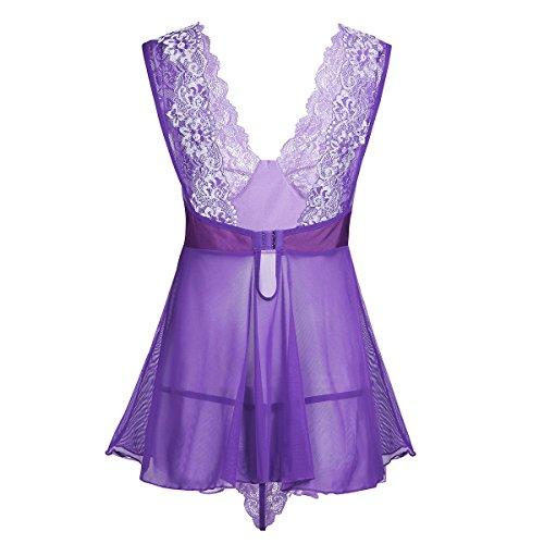 iEFiEL Damen Dessous Kleid Negligee tief V-Ausschnitt Dessous Transparent Babydoll Reizwäsche Erotik Spitze Lingerie Rock mit G-String Violett L