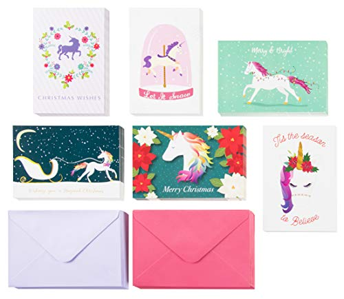 48-Pack Merry Christmas Holiday Greeting Card - Happy Holidays Xmas Cards in 6 Rainbow Unicorn Designs, Bulk Assorted Festive Winter Holiday Cards with Envelopes, 4 x 6 Inches