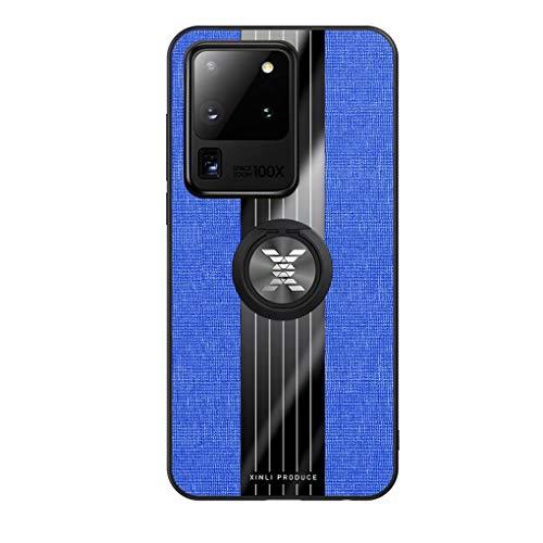 NiaCoCo Compatible con Samsung Galaxy S20 Ultra Funda+1*Protector de Pantalla,360 Grados Soporte de Anillo de Rotación Ultra Thin Anti Scratch Carcasa de Telefono(Azul)