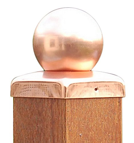 Pfostenkappen Kupfer mit Kugel für Pfosten 12x12 cm, inkl. Kupfer-Nägel