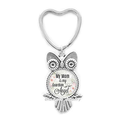 New Mother,My Mother is My Guardian Angel,Memorial Charm,in Memory,Lost Mother,Memorial Owl Keychain,TAP184