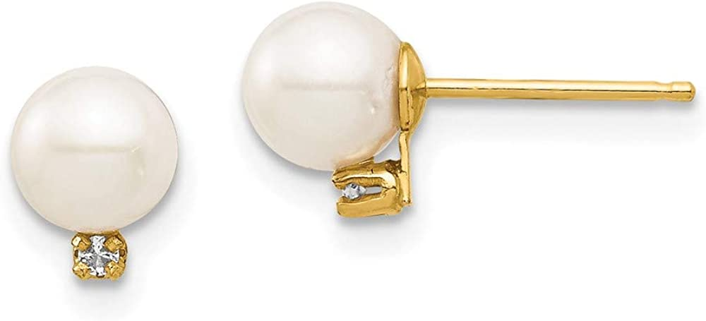 14k Yellow Gold 6mm White Round Freshwater Cultured Pearl .02ct Diamond Post Stud Earrings Ball Button Fine Jewelry For Women Gifts For Her
