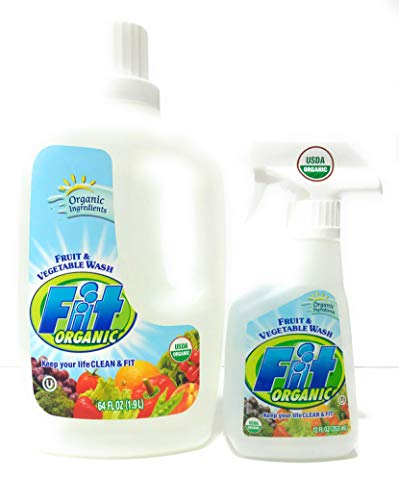 Fit Organic Fruit And Vegetable Wash 12Ounce Spray Bottle  64oz Refill Bottle