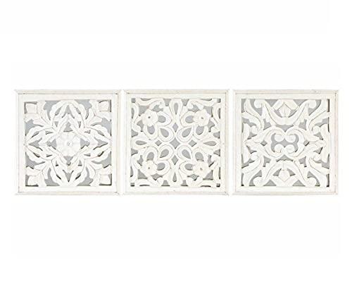 Dcasa - Conjunto de Murales decoracion pared madera tallada y cristal 30x30 cm