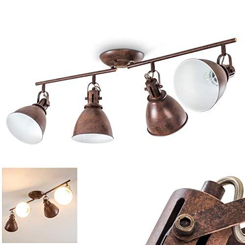 Faretti da Soffitto Design Moderno Industriale- Faretti Orientabili in Metallo Color Ruggine- Illuminazione per Salotto e Cucina