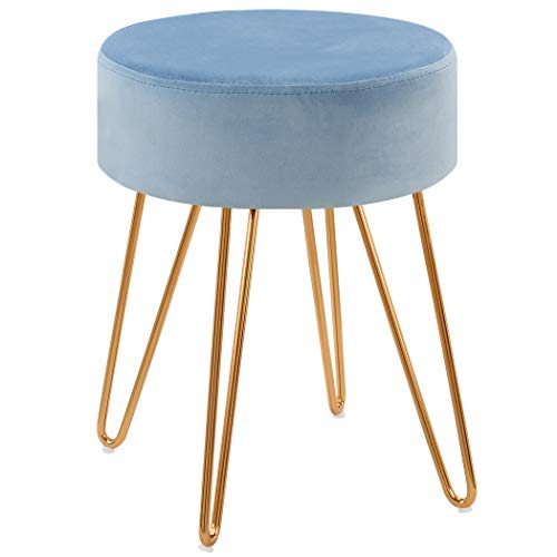 Duhome Velvet Ottoman, Makeup Vanity Stool, Contemporary Stool, Mongolian Round Metal Stool, Vanity Stool, Furry Ottoman Stool, Modern Accent Stools Light Blue