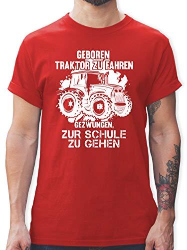 Andere Fahrzeuge - Geboren um Traktor zu Fahren - L - Rot - Traktor Tshirt Jungen - L190 - Tshirt Herren und Männer T-Shirts