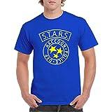 Stars Raccoon Resident Police Department Evil - Camiseta Fruit of The Loom Manga Corta (Azul Royal, XL)