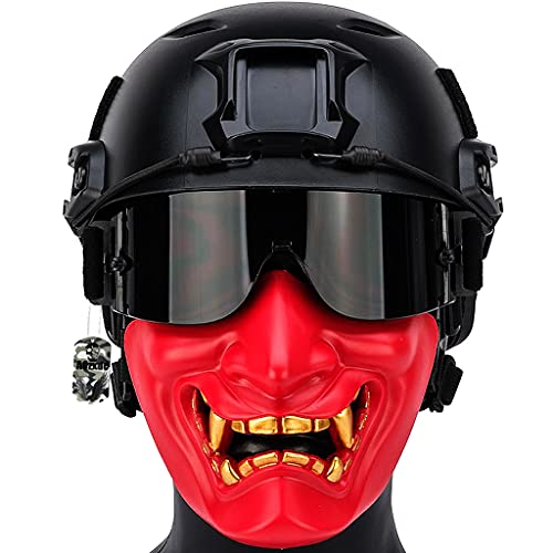 Conjunto Casco Táctico, Juegos de Protección Paintball para Exteriores con Media Cráneo Mascarilla y Gafas Airsoft, con Almohadilla EPP Avanzada, para Caza Tiro Entrenamiento Ciclismo Cosplay,Rojo,M